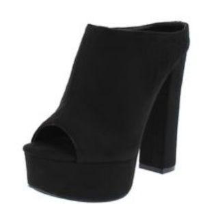 Liliana Lizzy Black Suede Velvet Chunky High Heel
